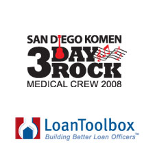 San Diego Komen 3 Day Rock Medical Crew 2008 and Loan Toolbox brand designs by Crittenden Creative, Inc. (CCI) San Diego